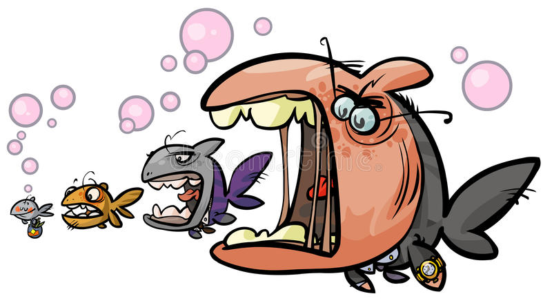 Big fish eating the smaller. stock illustration