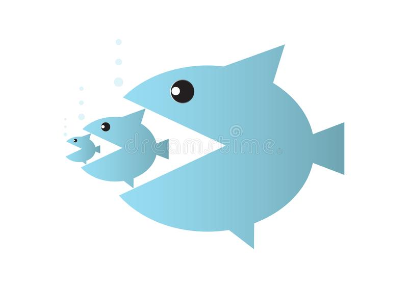 Big fish eats small fish, food chain or takeover business concept. Vector illustration stock illustration