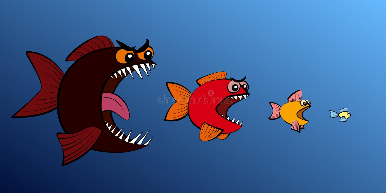 Big Fish Eats Smaller Fish Food Chain. Big fish eats small fish - symbol for food chain, business takeover, hierarchy, absorption, usurpation or seizing power vector illustration