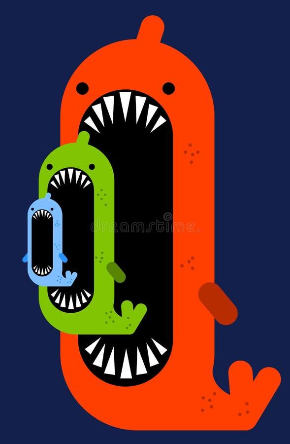 Big Fish Small Fish Stock Illustration Illustration Of Merge 62364131