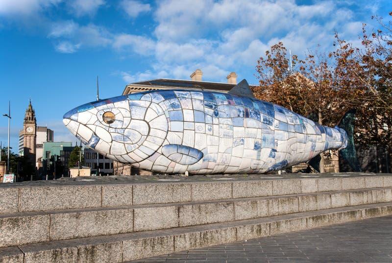 Big Fish statue in Belfast, Northern Irelnad. BELFAST, NORTHERN IRELAND, UK - SEPTEMBER 25, 2016: The Big Fish statue in Belfast, Northern Ireland. A printed stock photos