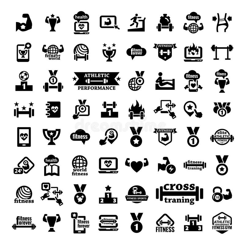 Download Big fitness icons set stock vector. Image of illustration - 38426912