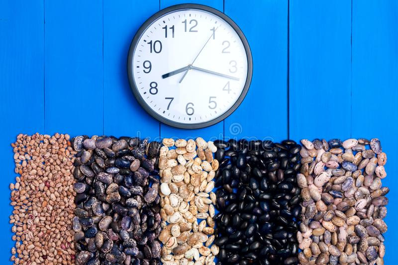 Big Five types of bean grain, bean pod, a lot of beans texture p stock image