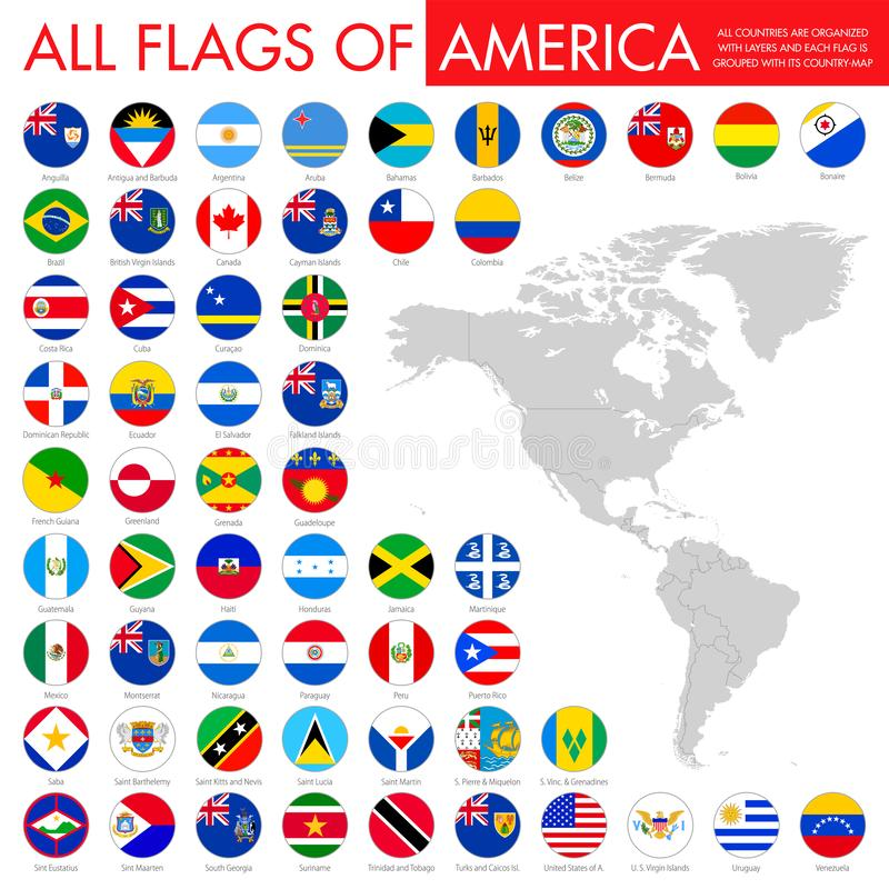 Big flat button flags set - America north, central & south royalty free illustration