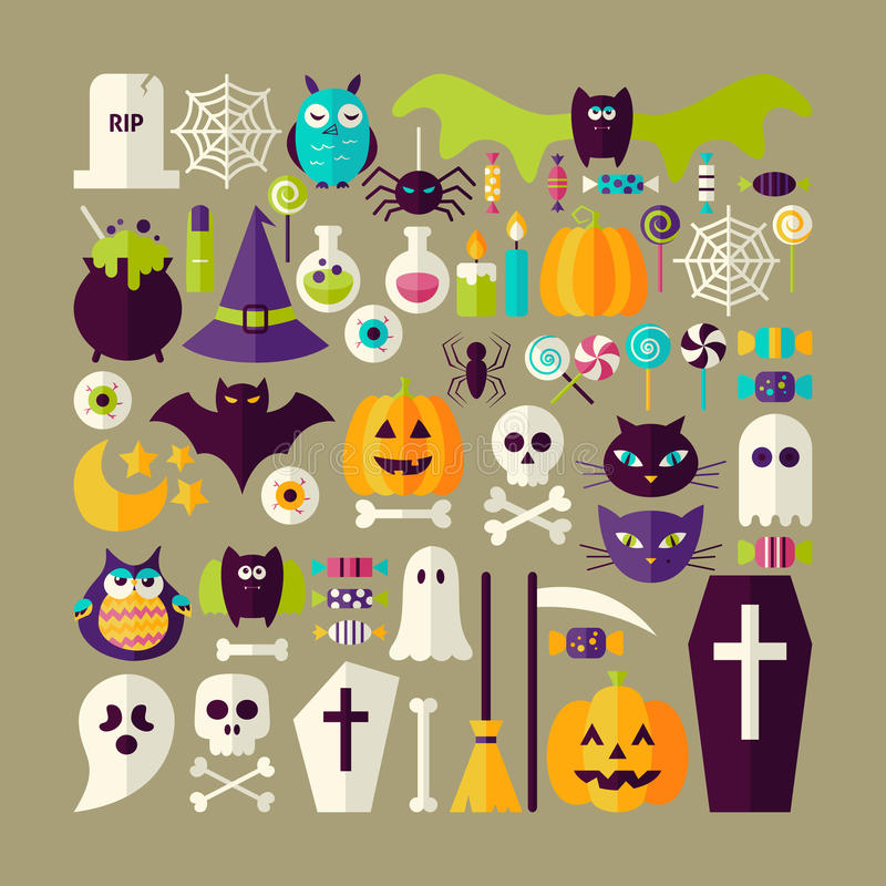 Free Big Flat Style Vector Collection Of Halloween Holiday Objects Royalty Free Stock Images - 59644579