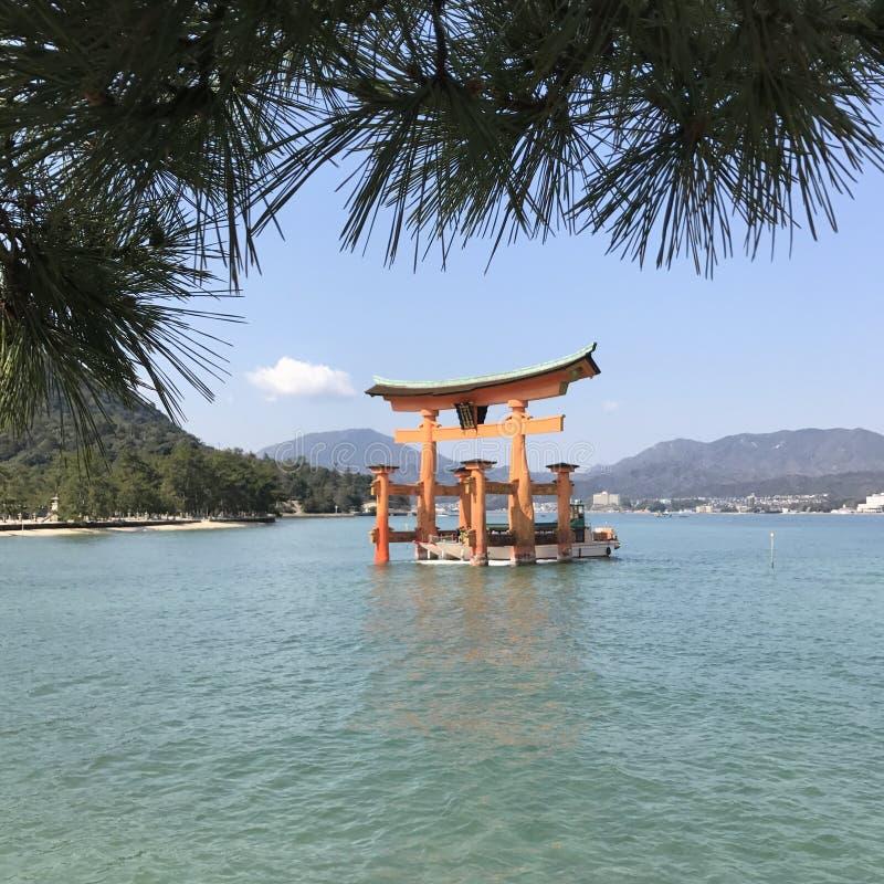 Big Floating Gate Torii. Floating Gate Torii on sacred island Miyajima near Hiroshima royalty free stock photos