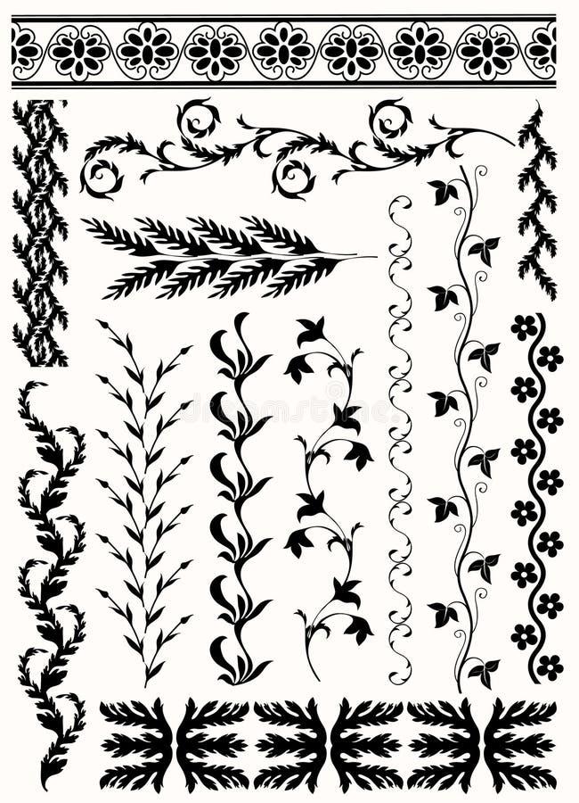 Big floral brush collection royalty free illustration