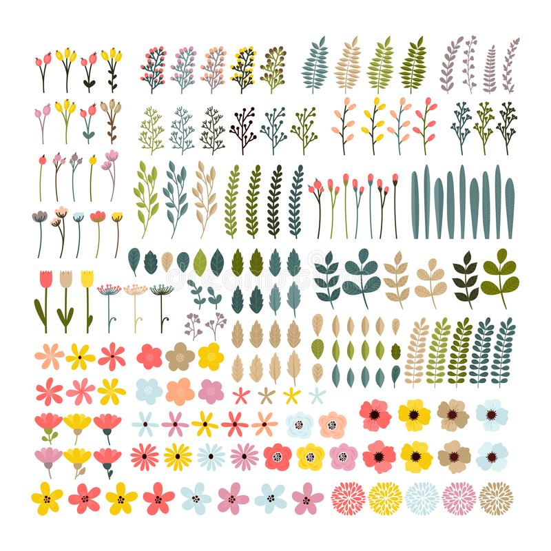 Free Big Floral Set. Colorful Collection With Branches And Flowers. Royalty Free Stock Photo - 101238975
