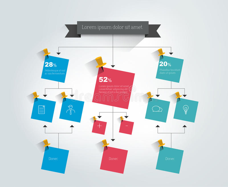 Big flow chart. Colored shadows scheme. Vector illustration stock illustration