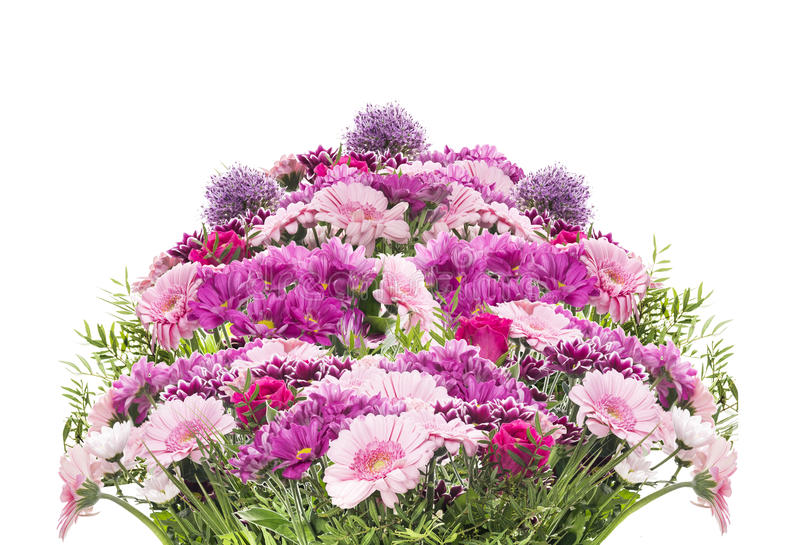 Big Flower Bouquet With Pink Summer Flowers, Isolated Stock Photo ...