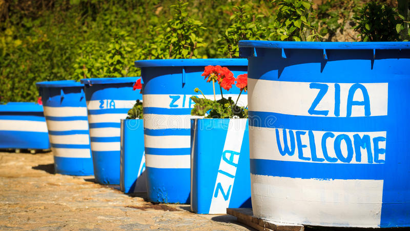 Big flower pots with inscriptions Zia welcome. In Kos island, Greece stock image