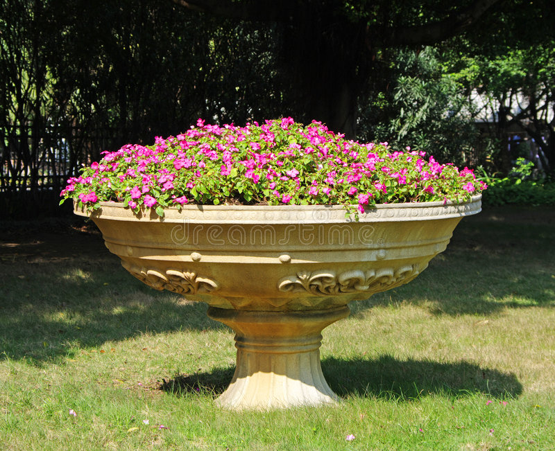 A big Flowerpot with flowers. A big Flowerpot with many Purple flowers in garden royalty free stock photos