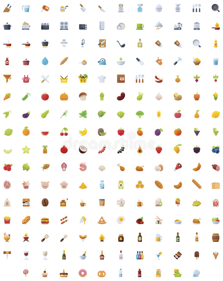 Big food, drinks and cooking icon set stock illustration