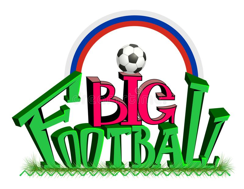 Big football text on green grass. Soccer ball and Russian rainbow flag royalty free illustration