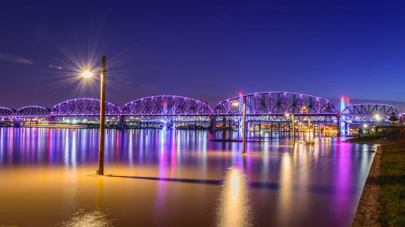 Big Four Pedestrian Bridge over high water stock images