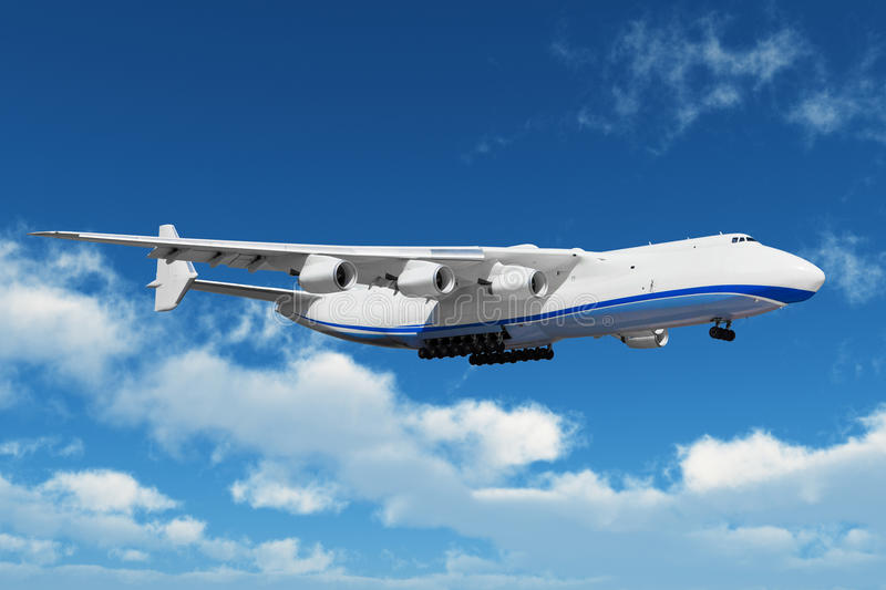 Big freight airiner in the bue sky with clouds royalty free stock photos