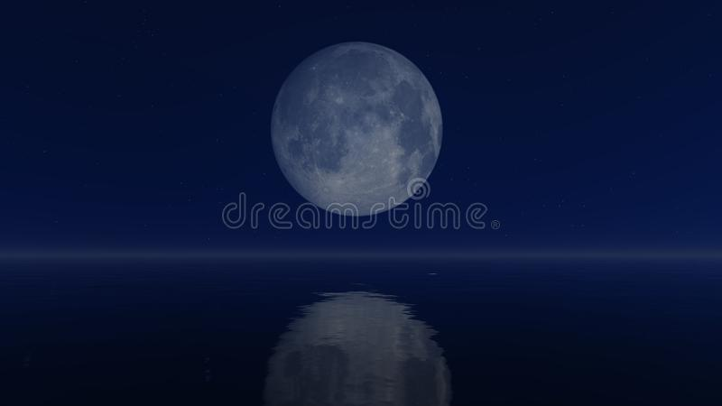 Big full moon above calm water. Cloudless night sky with a big full moon above mirror water surface vector illustration