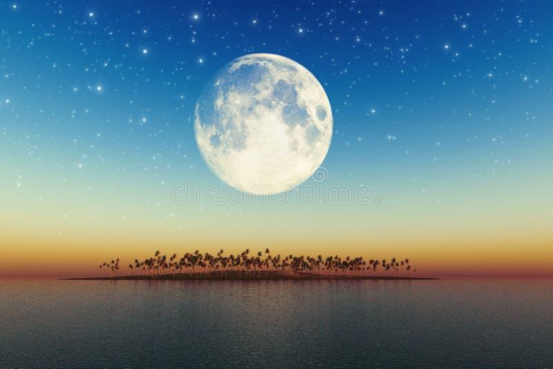 Download Big Full Moon Behind Island Stock Illustration - Illustration: 32191329