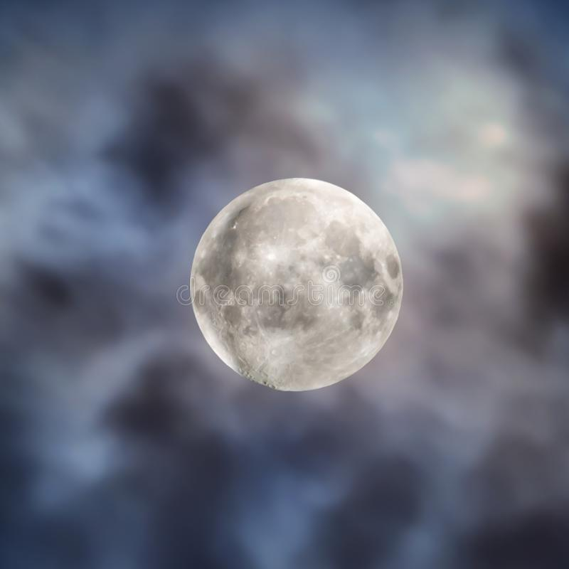 Big full moon on night sky with clouds royalty free stock images