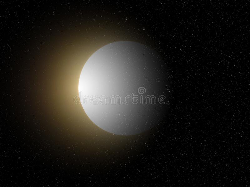 Big full white yellow shining moon in black starry night  sky background. Dark shadow on the planet. Light on the left. Moon, sky, planets, cosmos, nature royalty free stock photography