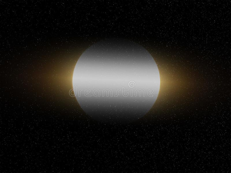 Big full white yellow shining moon in black starry night  sky background. Dark shadow on the planet. Light in the middle. Moon, sky, planets, cosmos, nature royalty free stock photography
