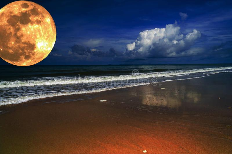 Big full yellow moon in dark blue cloudy sky over the sea / ocean. Empty beach. Planet close to the Earth. Environment protection, save the Earth concept. Moon vector illustration