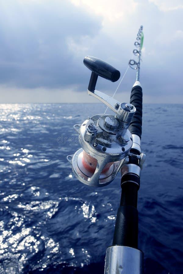 Big game boat fishing in deep sea stock photo