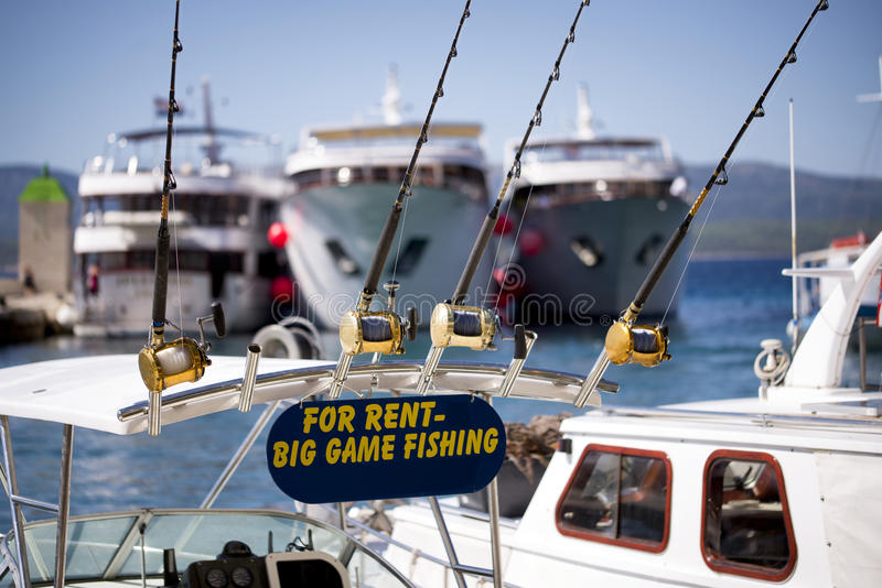 Big game fishing boat and equipment for rent stock photos