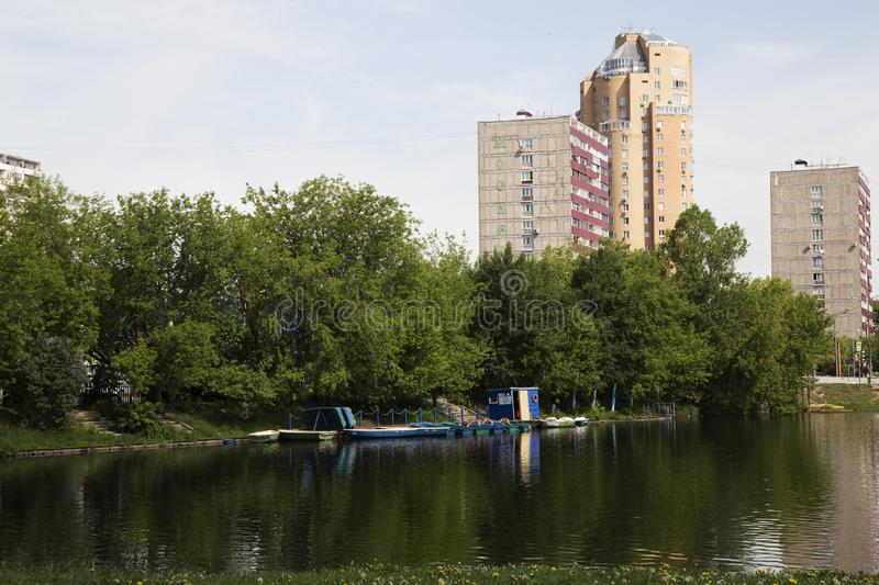 Big Garden Pond in Moscow is cleaned and ready for the swimming season royalty free stock images