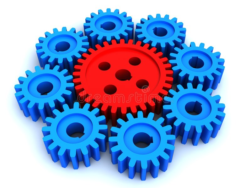 The big gear and eight small royalty free illustration