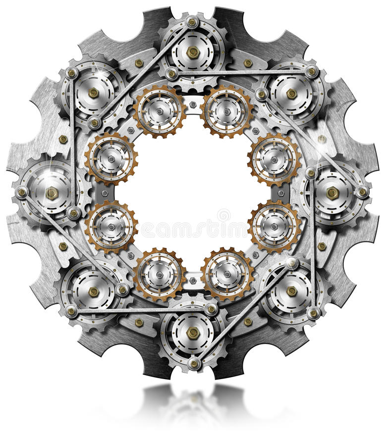Big Gear with Small Gears vector illustration