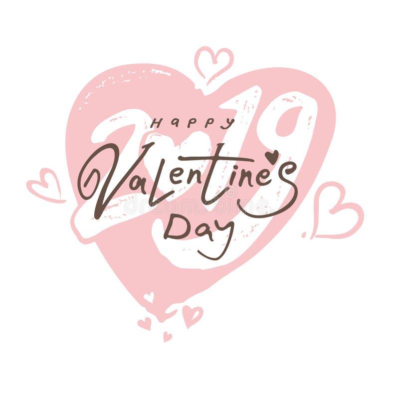 Big gentle Heart 2019. Happy Valentine`s Day 2019 modern calligraphy. vector illustration