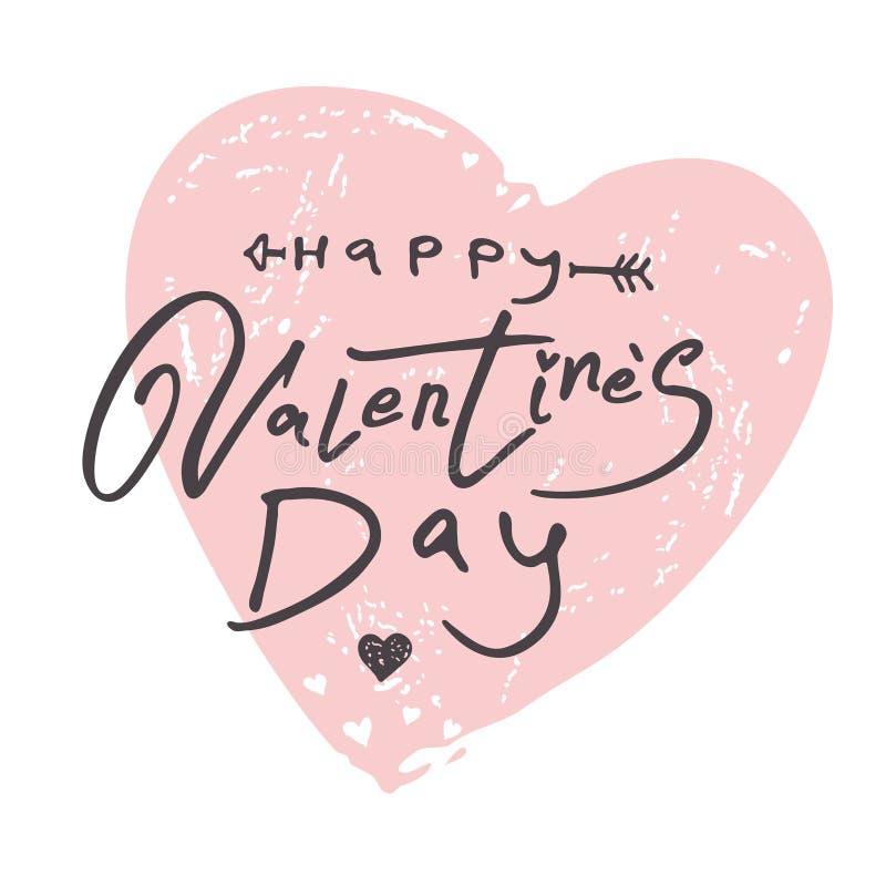 Big gentle Heart. Happy Valentine`s Day modern calligraphy. stock illustration