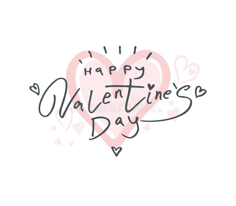 Big gentle Heart 2019. Happy Valentine`s Day 2019 modern calligraphy. royalty free illustration