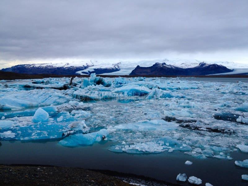 Big glacier lagoon in blue shading royalty free stock image