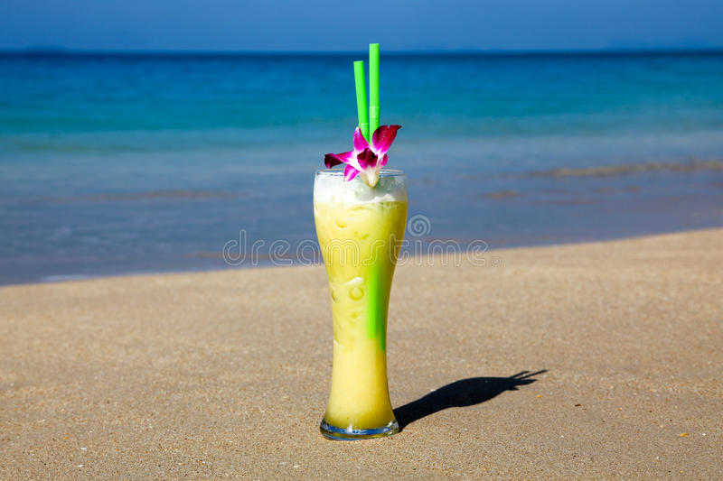 Download Big Glass Of Cocktail With Two Straws And Flower Stock Image - Image: 13512485