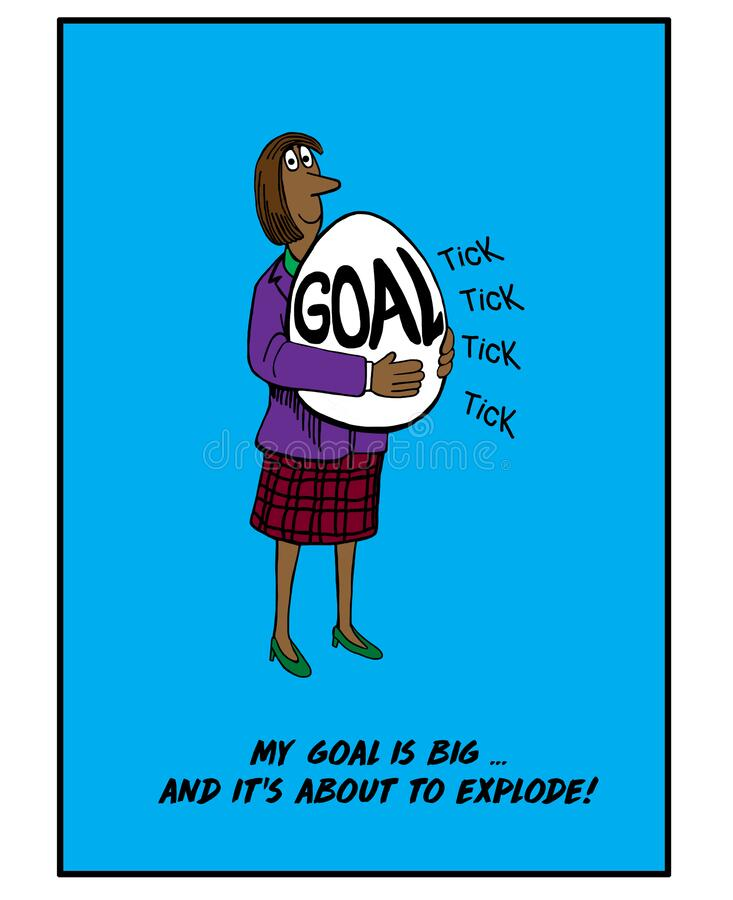 Big goal is about to explode. Color cartoon of African-American woman holding an egg that reads GOAL, she has a big goal and it is about to explode stock photos