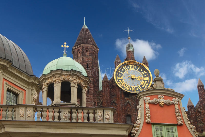 Download Big Gold Clock In Old Town Gdansk, Poland Royalty Free Stock Photography - Image: 11854447