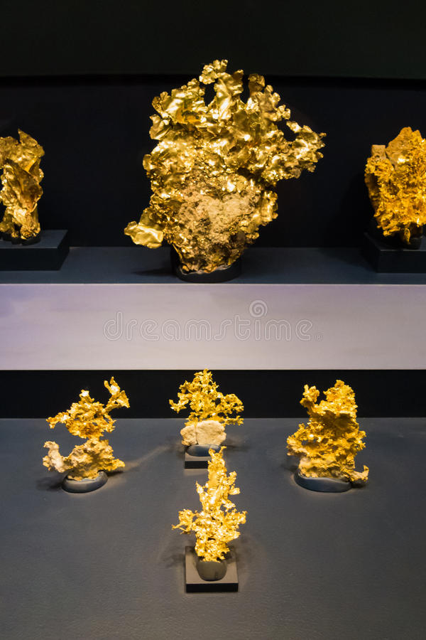 Big gold nuggets noble metal yellow shiny valuable stock photo