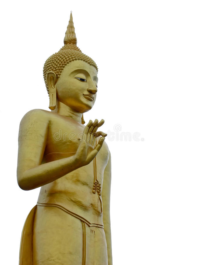 Big golden buddha statue in Hatyai, Thailand. Isolated against white background stock photos