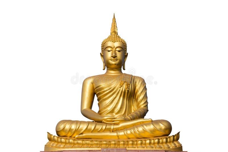 Big golden buddha statue on white background stock image