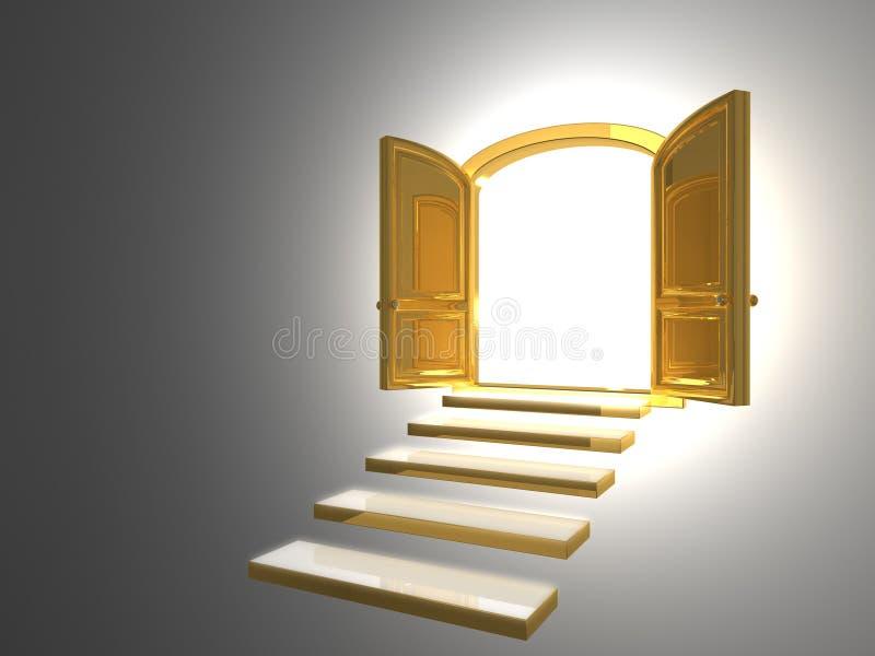 Big Golden Door opened on white stock photo