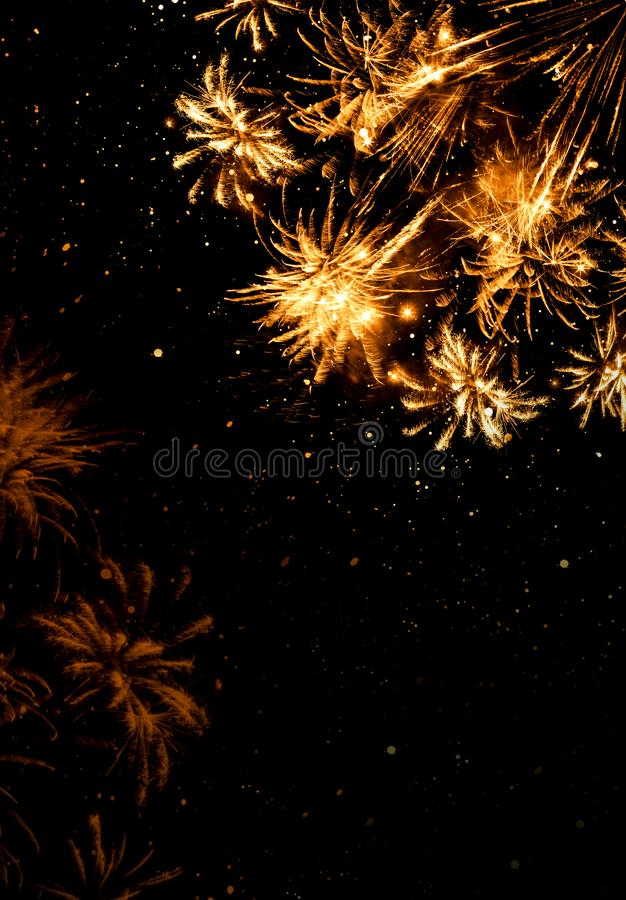 Abstract golden firework background . New Year background. royalty free stock image