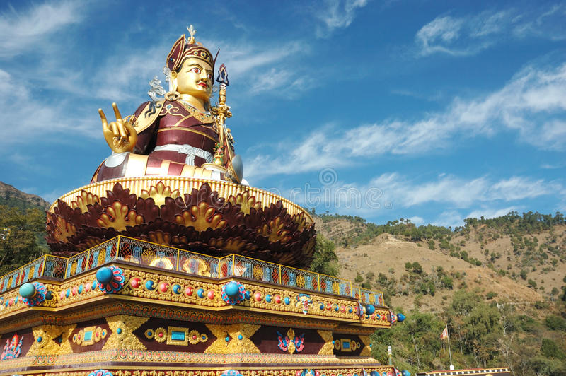 Big golden statue of Padmasambhava or Guru Rinpoche,India. Big golden statue of Padmasambhava or Guru Rinpoche,who is recognized as the second Buddha of this age royalty free stock photo