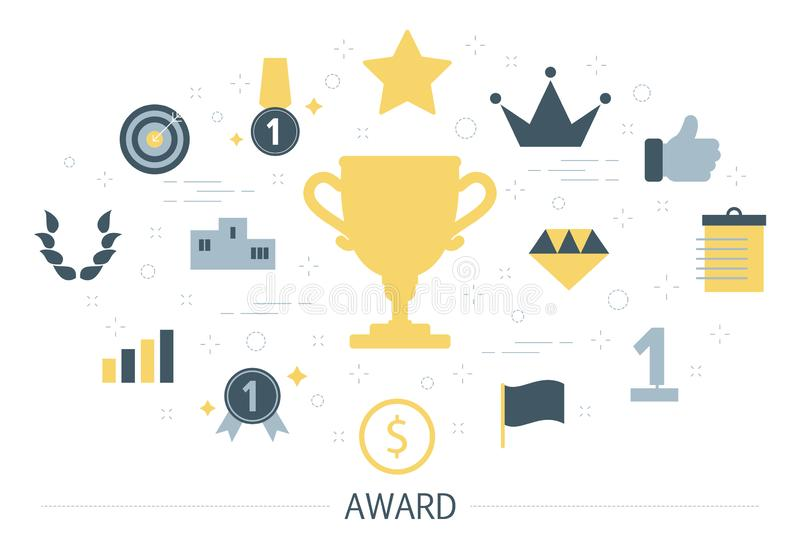 Big golden trophy cup as metaphor of award vector illustration