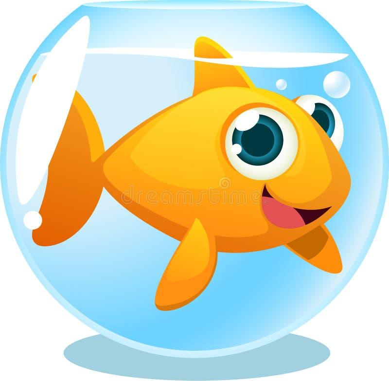 Big Goldfish in fish Tank vector illustration