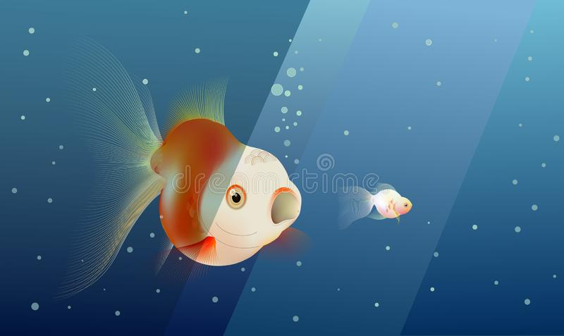 Big goldfish about to eat little goldfish, risk under deep blue ocean. Business concept, metaphor of taking risk and competition vector illustration