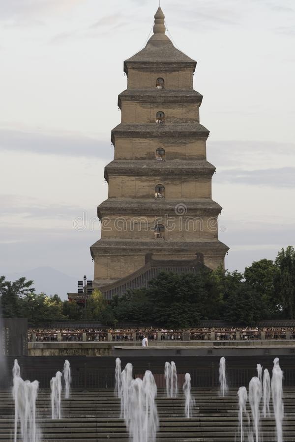 Big goose pagoda xian china day fountain. Historic, architecture, buildings, structure, travel, vacation, destination, stone, tiered, many, water, trees, small stock photography