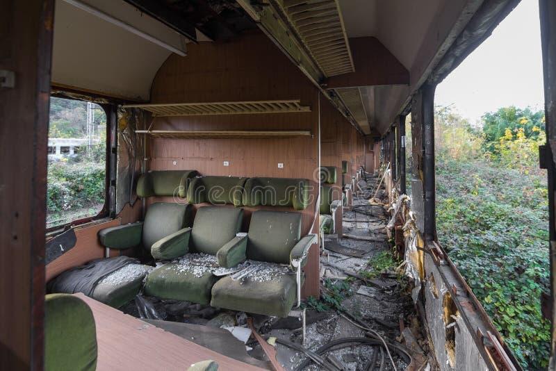 Inside the abandoned trains stock image