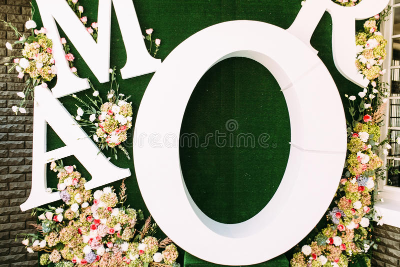 Big green background for the wedding photos. A royalty free stock photos